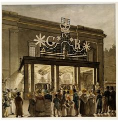 1821 Exterior of Drury Lane Theatre. During celebrations held to commemorate Battle of Waterloo of 1815 and coronation of George IV, June Watercolour by Robert Blemmell Schnebbelie collections. London History, British History, Tudor History, Old London, London Art, History Of England, Victorian London, London Theatre, Sand Crafts