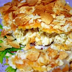 Potato Chip Chicken Casserole!!  This is a chicken casserole with a crispy crunchy potato chip topping. It is easy to make and tastes wonderful!! I ate this as a teen.