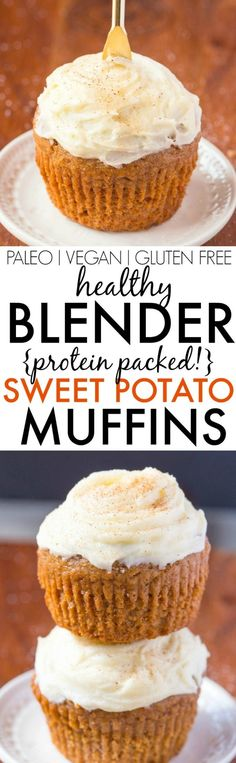 Healthy Flourless BLENDER Sweet Potato Muffins- Light fluffy and made in one bowl these moist protein packed muffins are made with NO sugar NO butter NO oil and NO grains/flour but delicious- Freezer and kid friendly too! Dessert Sans Gluten, Paleo Dessert, Gluten Free Desserts, Healthy Desserts, Dessert Recipes, Healthy Muffins, Healthy Smoothies, Vegetable Smoothies, Smoothie Recipes