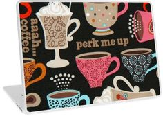 Perk Me Up Coffee Cups Cafe | Design available for PC Laptop, MacBook Air, MacBook Pro, & MacBook Retina