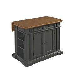 Home Styles Americana Grey Kitchen Island With Seating - The Home Depot Drop Leaf Kitchen Island, Black Kitchen Island, Kitchen Island With Seating, Kitchen Islands, Grey Kitchens, Cool Kitchens, Americana Kitchen, Kitchen Furniture, Furniture Stores