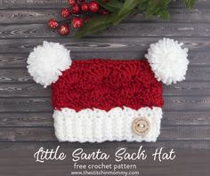 This sweet Little Santa Sack Hat is the perfect little holiday hat! This is my last contribution to the 2017 Holiday Blog Hop. Get the free pattern here.