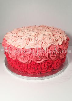 Single Tier Red and Pink Buttercream Ombre Rose Swirl Cake - Cakes By HollyK