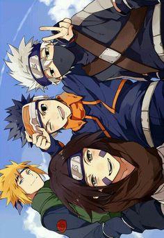 Naruto - Team Minato: Kakashi, Minato, Obito, and Rin Naruto Shippuden Sasuke, Naruto Kakashi, Anime Naruto, Boruto, Art Naruto, Gaara, Manga Anime, Kakashi Funny, Kakashi Memes