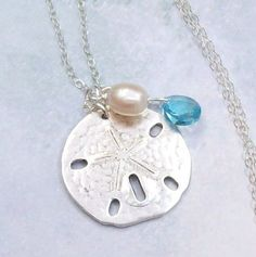 Silver Sand Dollar Necklace Tropical by SterlingSimplicity on Etsy, $21.00