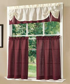 Another great find on #zulily! Burgundy Sunrise Kitchen Curtain Set #zulilyfinds