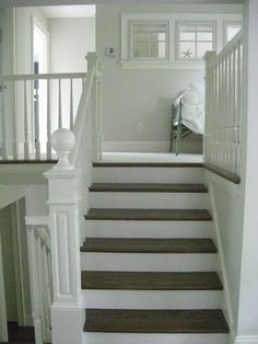 wood tread, white risers on stairs