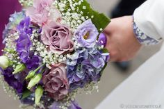 violet , pink and white bouquet with gypsophila