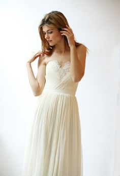 Silk Chiffon Wedding Gown with Pleated Detail and French Lace--Sample sale--Size 6