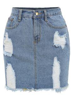 Shop Frayed Denim Pencil Skirt online. SheIn offers Frayed Denim Pencil Skirt & more to fit your fashionable needs.