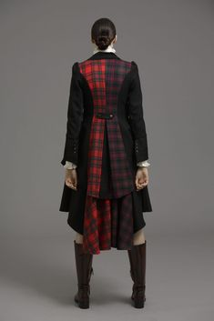 Our signature tweed frock coat features beautiful black lace detailing on the cuffs and bustle with a flash of tartan in the back panels. The lapels are made in black cotton velvet to accentuate the luxury look. The coat is perfect with our shirts and Cigarette trouser to give a dramatic edge to your wardrobe.