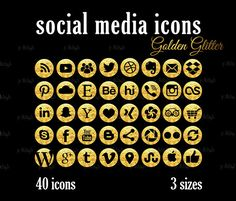 Social Media Icons Set Gold Glitter Download Social Media Buttons, Social Media Icons, Golden Glitter, Icon Set, Website, Blog, Social Icons