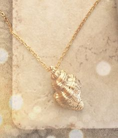 Gold Shell Necklace Gold Necklace Bridesmaid Gift by LimonBijoux