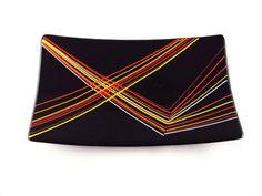 Rectangular Glass Platter. $45.00, via Etsy.  black glass and multi colored stringer