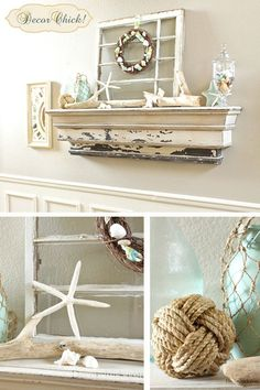 Summer Mantel Link Party | The Lettered Cottage  Love the beachy mantel
