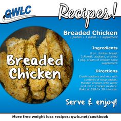 Another delicious recipe from Quick Weight Loss Centers: Breaded Chicken. Find more weight loss recipes at http://quickweightloss.net/recipes #weightlossmotivation