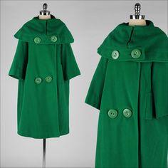 vintage 1960s coat . kelly green wool . por millstreetvintage, $175.00