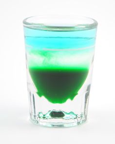 Arctic Chill 1/4 oz Creme de Menthe 1/4 oz Peppermint Schnapps 1/4 oz UV Blue Vodka 1/4 oz Club Soda