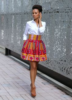 Melange+Mode+African+Print+Flirty+Skirt+by+MelangeMode+on+Etsy,+$95.00