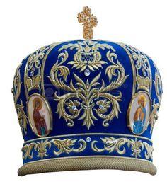 Blue mitre -solemn headgear of the orthodox bishop photo