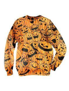 Orange 3D Unisex Sweatshirt With Pumpkin Print | Persunmall