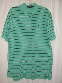 POLO by Ralph Lauren Mens Top Mint Green Striped Short Sleeve Shirt Size L #PoloRalphLauren #PoloRugby