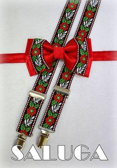 SALUGA / Folkový - folklórny červený motýlik + traky, ľudový, krojový Ethnic Bag, Belt, Traditional, Accessories, Fashion, Bows For Girls, Punto De Cruz, Ornaments, Shirts