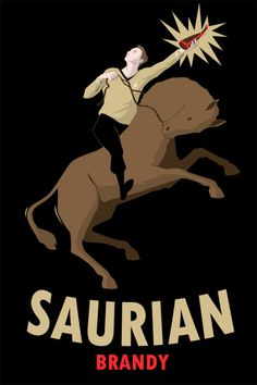 Saurian Brandy, one of Captain Kirk's favorite drinks. Based off the Cinzano Vermouth ad by Leonetto Cappiello.