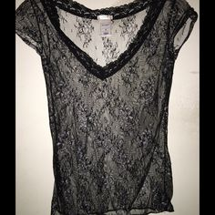 Old Navy Medium Lace top black silver This is a medium but fits rather tight so it could also fit a small Old Navy Tops