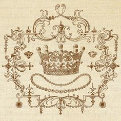 CROWN Ornate Frame PEARLS Jewlery Digital by graphiquesepia, $1.00