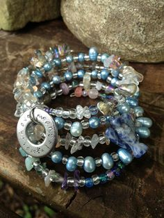 Angels Watch Over Me: five wrap memory wire beaded bracelet with metal stamped charm on Etsy, $45.00