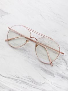 268d83bdde Shop Clear Lens Aviator Glasses online. SheIn offers Clear Lens Aviator  Glasses   more to