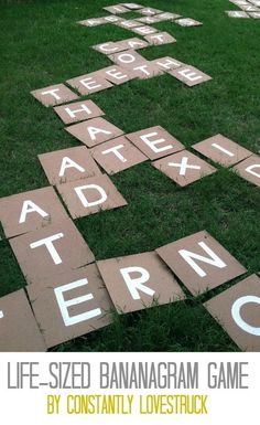 Great site for outdoor fun!  DIY-Giant-Bananagrams