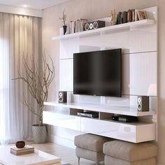Floating Entertainment Center Wall TV Mount Stand Theater Screen White Gloss - Home Theater Floating Entertainment Center, Home Entertainment Centers, Entertainment Products, New Living Room, Living Room Decor, Tv Wall Ideas Living Room, Tv Wall Decor, Wall Tv, Shelf Wall