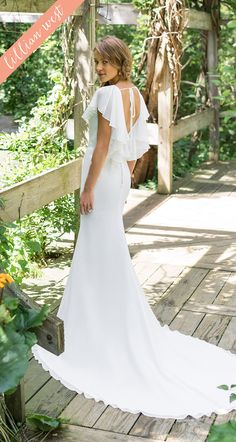c964cbf350 Style 66002  Chiffon Flutter Sleeve Fit and Flare Wedding Dress with Belt Lillian  West