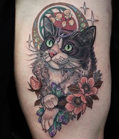 georginatattoo: Art Nouveau cat for Liana, based off of her cat 😸 (at Deathless Tattoos)