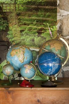 Relax Tra Gli Ulivi is a stunning rustic farmhouse in Tuscany, Italy designed by Claudia Pelizzari Interior Design in The home showcases cutting-edge design solutions and traditional materials. World Globe Map, World Globes, Map Globe, Vintage Globe, Vintage Maps, Heart Map, Country House Interior, Cartography, Rustic Farmhouse