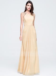 A-Line/Princess Scoop Neck Floor-Length Chiffon Prom Dress With Ruffle Beading Sequins (018070350)