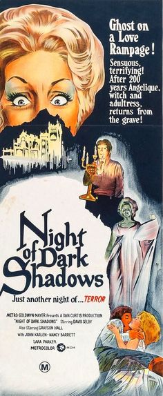Night of Dark Shadows (1971). October 9th, 2016, be there or be square. Watch Crump fall off a really big cliff into an abyss of his own words.