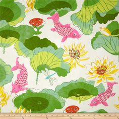 Waverly Lotus Chintz Lake Blossom from @fabricdotcom  Screen printed on lightweight chintz, this fabric is very versatile and perfect for window treatments (draperies, curtains, valances, and swags), bed skirts, duvet covers, pillow shams and accent pillows. Colors include shades of green, pink, yellow, white and orange.