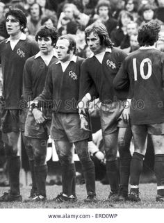1st February 1975. A bizarre shirt mix up at Loftus Road forced Derby County to play the game in QPR's red away shirts as they had forgotten to bring their own shirts. Pictured are Roger Davies, Henry Newton, Archie Gemmill, Jeff Bourne and Kevin Hector.