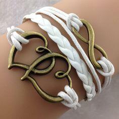 Double Heart White Bracelet