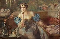 Otolia Kraszewska:Elegant Lady Sitting on a Sofa (Elegante Dame auf Sofa sitzend)