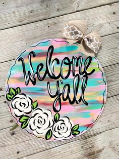 Excited to share this item from my shop: Rustic Rainbow Abstract Spring Welcome Door Hanger Wooden Door Signs, Wooden Doors, Dorm Door Signs, Welcome Door Signs, Burlap Door Hangers, Classic Doors, Wood Cutouts, Painted Doors, Front Door Decor