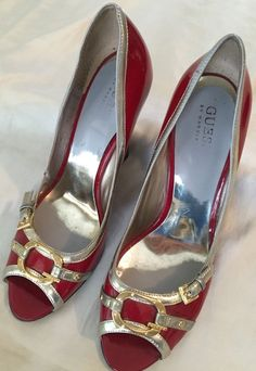 Guess Sexy Peep Toe Heels Wedge Buckle Marciano Red Gold Patent Leather Sz 8 5 | eBay