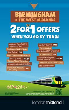2 for 1 offers in Birmingham when you go by train