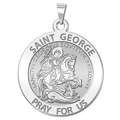 PicturesOnGold.com Saint George Religious Medal - Available in Solid 10K And14K Yellow or White Gold, or Sterling Silver