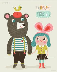 bestest friends - by helen dardik. Limited edition giclee print of an original illustration. The print would fit perfectly in frame. Bestest Friend, Children's Book Illustration, Friends Illustration, Cute Characters, Cute Art, Illustrations Posters, Giclee Print, Character Design, 3d Character