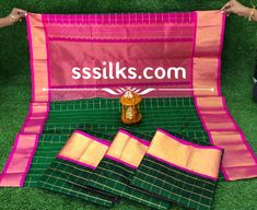 Indian Handloom Sarees and Silks Kuppadam Pattu Sarees, Handloom Saree, Different Patterns, Different Colors, Pure Silk Sarees, Contrast, Weaving, Colours, Indian