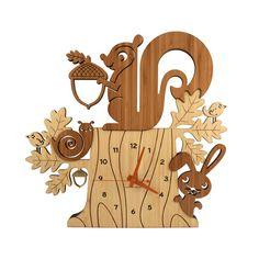 Wood Nursery Wall Clock: Squirrel Woodland Forest Animal Bamboo Decor for Baby, Boy, Girl, Kids, Children